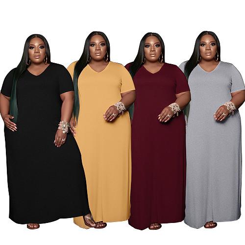 Summer Solid Color Short Sleeve V Neck Loose Maxi Dress BER-8056