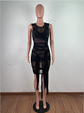 Sexy Solid Color Mesh See-through Strap Sleeveless Vest Dress OSM-6121