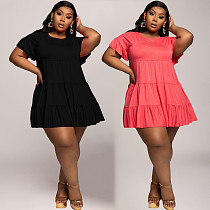 Plus Size Solid Color Short Sleeve Round Neck Loose-fitting Dress SQ-947