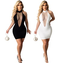 Solid Color V-neck Mesh Spliced Sleeveless Bodycon Dress BANM-7148