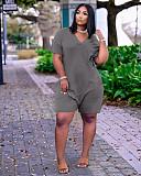 Women Solid Color V Neck Short Sleeve Loose-fitting Romper OJS-9273