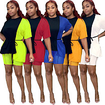 Color Block Splicing Short Sleeve T-shirt Shorts 2 Piece Outfits LS-0342