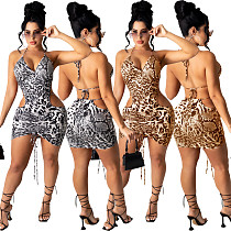 Womens Leopard Print Bodycon Hollow Out Ruched Mini Dresses YS-8802