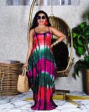 Summer Tie-dye Print Sleeveless Loose-fitting Halter Dress RUM-8908
