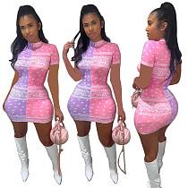 Women Print Short Sleeve O-neck Bodycon Mini Dress WXY-8836