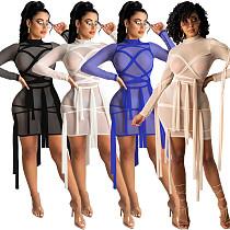 Sexy Women Long sleeve Mesh See Through Bandage Dresses  MTY-6506