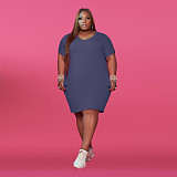 Women's Round Collar Short Sleeve Solid Color Plus-size Dress WA-7149