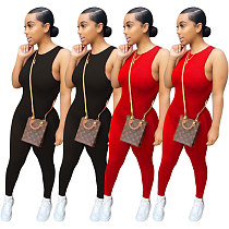 Hot Style Solid Color Sleeveless Midwaist Bodycon Jumpsuit RM-6318