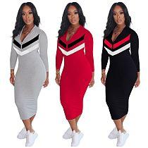 Plus Size Women Long Sleeve Front Zipper Bodycon Sport Dress OM-1162