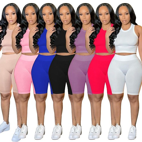 Solid Color Sleeveless Crop Tops Biker Shorts Two Piece Set YMT-6204
