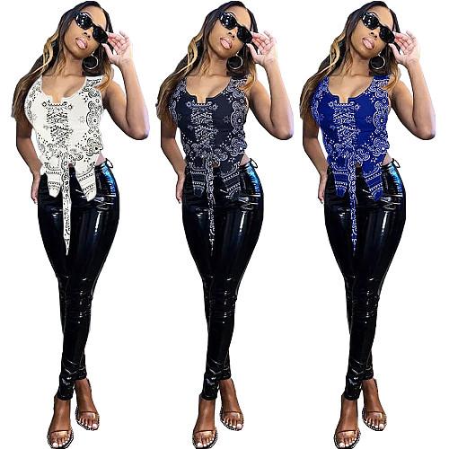 Women's Sleeveless Hip-Hop Cashew Flower Straps Vest Top FNN-8593