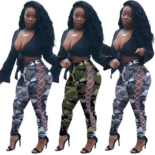 Camo Print Side Hollow Out Lace-up Bodycon Pencil Pants LM-8222