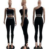 Women Sleeveless Letter Print Tank Vest Leggings 2 Piece Set MOF-6608