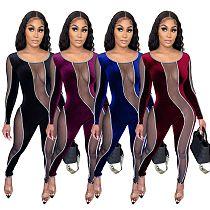 Sexy Transparent Mesh Velvet Spliced Long Sleeve Jumpsuits LX-6889