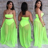 Street Drape Mesh Perspective Bosom Wrap Three-Piece Set LA-3263