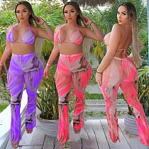 Summer Print Mesh Splicing Swimsuit Two Piece Pants Set BGN-152