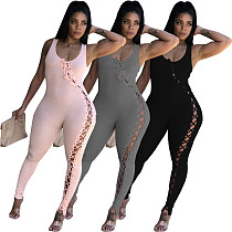 Womens Solid Color One-piece Bandage Sleeveless Jumpsuit CQ-099