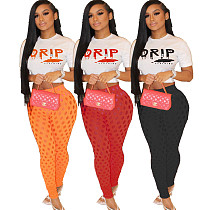 Letter Print Short Sleeve Crop Top Leggings 2 Piece Outfits AWN-5205
