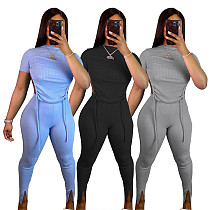 Women Backless Lace-up Short Sleeve Top Leggings 2 Piece Set SY-9072