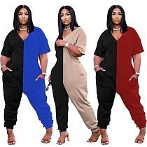 Fashion Color Spliced Short Sleeve V-neck Loose Jumpsuit WM-2314