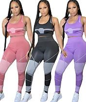Stretch Yoga Wear Sleeveless Vest Pencil Pants 2 Piece Set LUO-6416