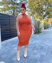 Plus Size Summer Sleeveless Halter Neck Bodycon Midi Dress HEJ-6048