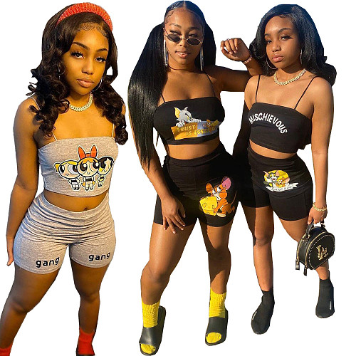 Hot Style Cartoon Print Halter Cropped Vest Shorts Two Piece Outfits FNN-8591