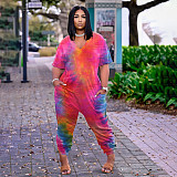 Fashion Tie-dye Print Short Sleeve V-neck Loose Jumpsuit BER-8061