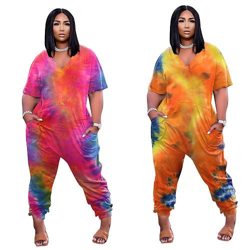 Fashion Tie-dye Print Short Sleeve V-neck Loose Jumpsuit BER-8061