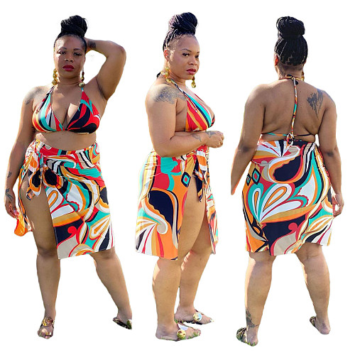 Women Plus Size Bikini With Skirt Halter Swimwear 3 Piece Sets SQ-953