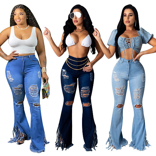 Sexy Ripped Jeans Fringe Hollow out Ruffle Flare denim Pants ME-615