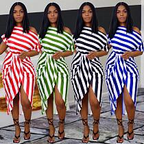 Fashion Stripe Printed Short Sleeve Skinny Irregular Midi Dress WA-7166