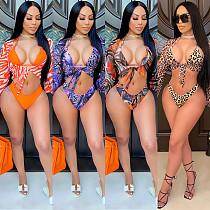 Leopard Print Long Sleeve Mesh Bikini Swimwear Three Pieces BY-5067
