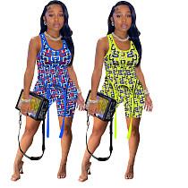 Fashion Vest Crop Top Bodycon Shorts Women Two Piece Set AWY-720