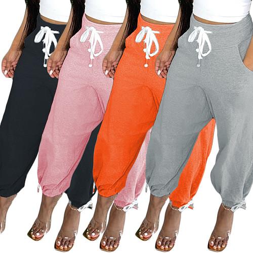 Solid Color Loose Sports Elastic Waist Corset Harlan Long Pants CN-0101