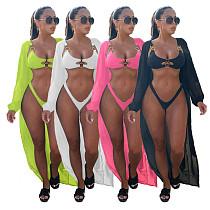 Push Up Bikini Set+Long Beach Cover-up Three Piece Sets BANM-7147