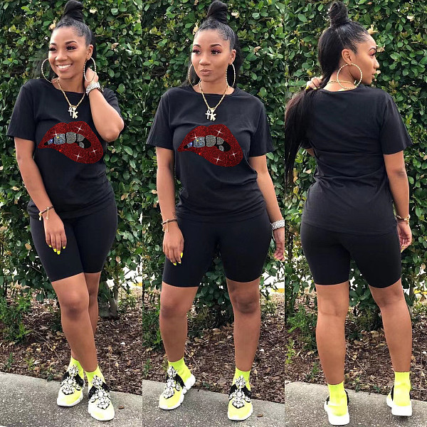 Women Lip Hot Drill Round Neck T-shirt Shorts Two Piece Outfits HZM-7154