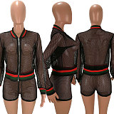 See Through Mesh Patchwork Long Sleeve Top Shorts 2 Piece Set HM-6508