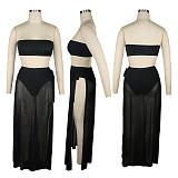 Solid Strapless Bikinis Mesh See-through 3 Piece Set Beachwear TE-4225