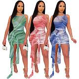 Women Tie Dye Sleeveless Mesh See Though Bandage Dress YF-9869