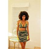 Camouflage Print Women Crop Top Bra Mini Skirt 2 Piece Outfits TEN-207