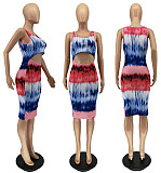 Women Tie Dye Print Sleeveless Cut Out Bodycon Dress WSM-5236