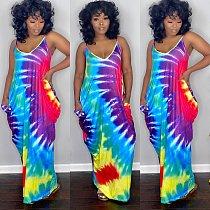 Summer Colored Tie-dye Print Loose Irregular Halter Dress QZX-6197