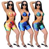 Sexy Tie Dye Print Halter Lace Up Bikini Beach Two Piece Sets TEN-209