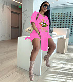 Fashion Lip Print Short Sleeve T-shirt Biker Shorts 2 Piece Sets YIM-173