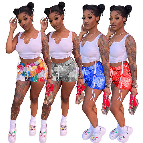 Women Sleeveless Drawstring Crop Top Print Shorts 2 Pieces NM-8344