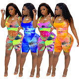 Tie Dyeing Print Sleeveless High Waist Stretch Bodycon Romper JH-225
