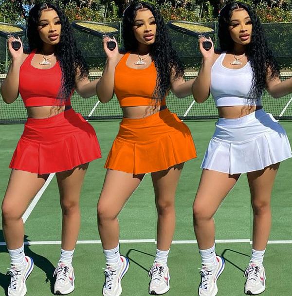 Women Sexy Solid Color Outdoor Vest Short Skirt 2 Piece Set MEI-9158