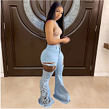 Women High Waist Ripped High Stretch Vintage Flare Jeans CN-0099