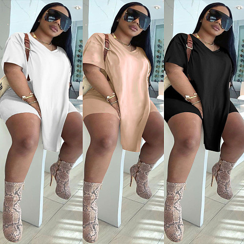 Plus Size Solid Color Short Sleeve O-neck Top Shorts 2 Pieces NY-2095